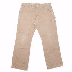 Carhartt Pants - Carhartt Mens 38x30 Pants Cargo Khaki WORK STAINED